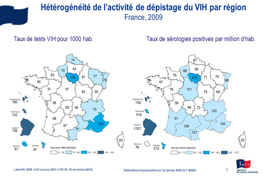 5 Taux de tests VIH pour 1000 hab.Taux de sérologies positives par million dhab.