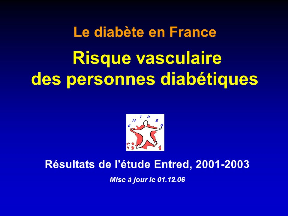 Résultats de létude Entred, 2001-2003 Mise à jour le 01.12.06 Le diabète en France Risque vasculaire des personnes diabétiques
