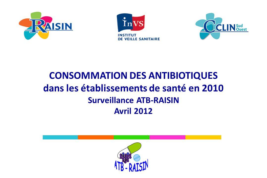 Fait avec Philcarto - http://philcarto.free.fr 11% 27% 100% 35% 33% 59% 88% 63 % 68% 52% 34% 36 % 83% 72% 61% 65% 73% 40% 47% 92% 57% 100% 70% 86% 79% Consommation en antibiotiques ATB-RAISIN, 2010 Résultats Consommation de carbapénèmes en nombre de DDJ/1 000 JH, pour les CH et les MCO et proportion des lits couverts par la surveillance (en %) (N= 613) Absence d information 5,0 (P75) consommation < 8,3 DDJ/1000 JH (max) 3,1 (P50) consommation < 5,0 DDJ/1000 JH (P75) 2,1 (P25) consommation < 3,1 DDJ/1000 JH (P50) 1,2 (min) consommation < 2,1 DDJ/1000 JH (P25) Avertissement : cette carte est réalisée à partir de données descriptives provenant d ES volontaires dont les données de consommation sont disponibles.