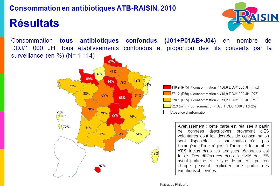 Fait avec Philcarto - http://philcarto.free.fr 54% 42% 67% 79% 46% 74% 68% 44% 40% 89% 25% 22% 65% 88% 55% 58% 34% 17% 34% 79% 60% 76% 20% 72% 97% Consommation en antibiotiques ATB-RAISIN, 2010 Résultats Consommation tous antibiotiques confondus (J01+P01AB+J04) en nombre de DDJ/1 000 JH, tous établissements confondus et proportion des lits couverts par la surveillance (en %) (N= 1 114) Avertissement : cette carte est réalisée à partir de données descriptives provenant d ES volontaires dont les données de consommation sont disponibles.