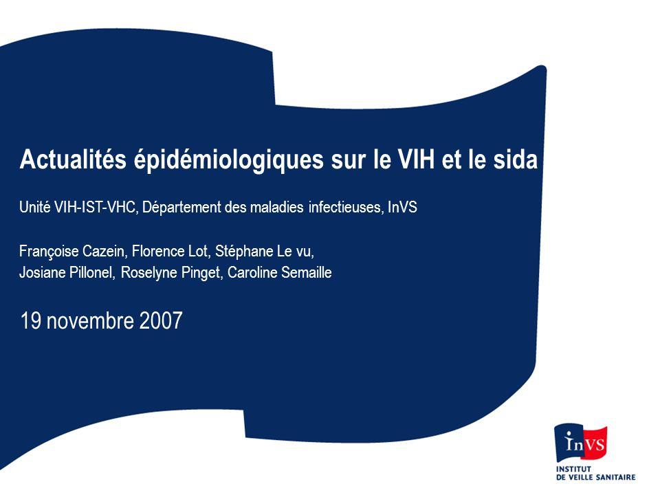 Dépistage du VIH en 2006 4 300 laboratoires 5 millions de sérologies réalisées dont ¾ en ville 11 100 sérologies confirmées positives dont 38% en ville 2,2 sérologies positives pour mille Réseau LaboVIH, InVS
