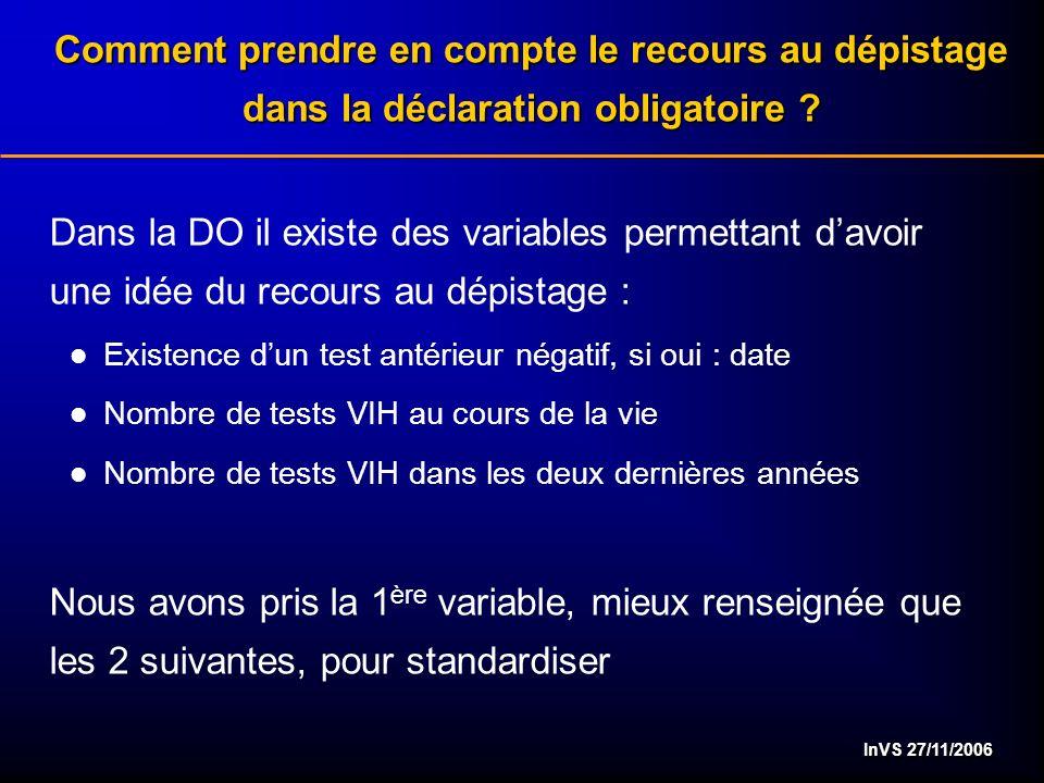 InVS 27/11/2006 Comment prendre en compte le recours au dépistage dans la déclaration obligatoire ? Dans la DO il existe des variables permettant davo