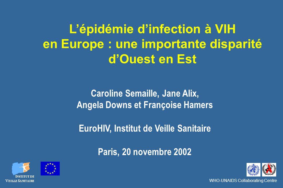 Définition des zones géographiques de la Région Europe de lOMS : Ouest, Centre, Est Ouest Est Centre EuroHIV