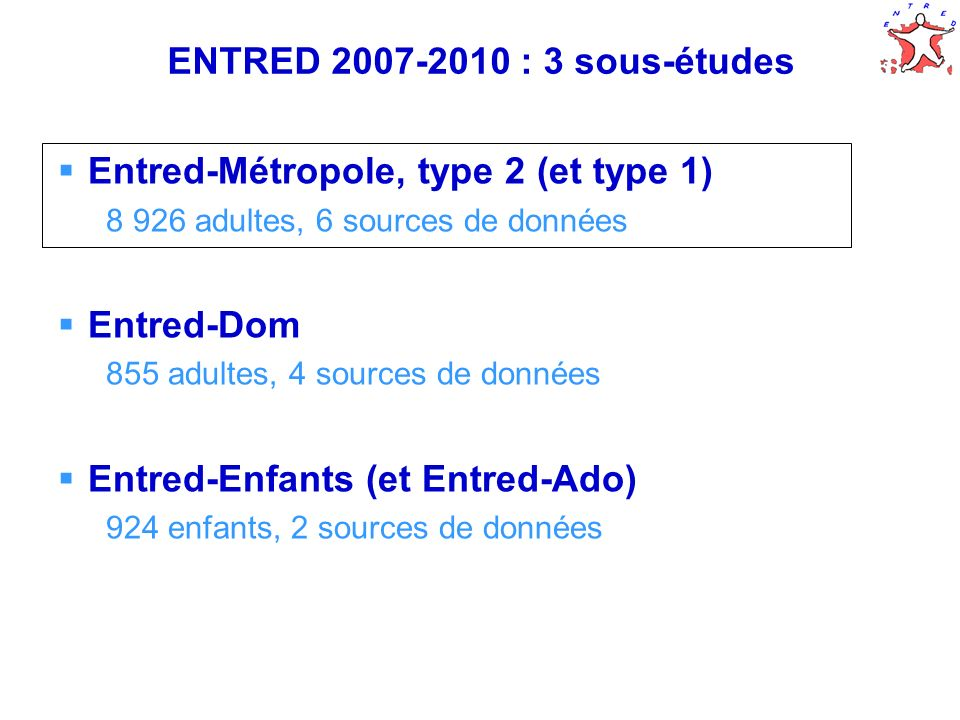 7 ENTRED 2007-2010 : 3 sous-études Entred-Métropole, type 2 (et type 1) 8 926 adultes, 6 sources de données Entred-Dom 855 adultes, 4 sources de donné