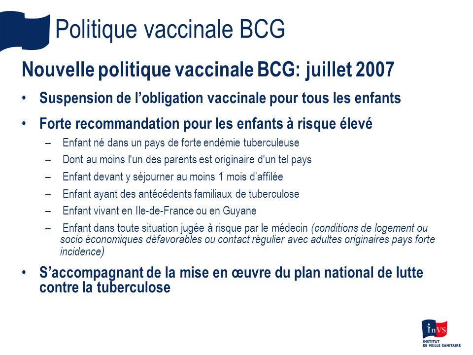 Politique vaccinale BCG Nouvelle politique vaccinale BCG: juillet 2007 Suspension de lobligation vaccinale pour tous les enfants Forte recommandation