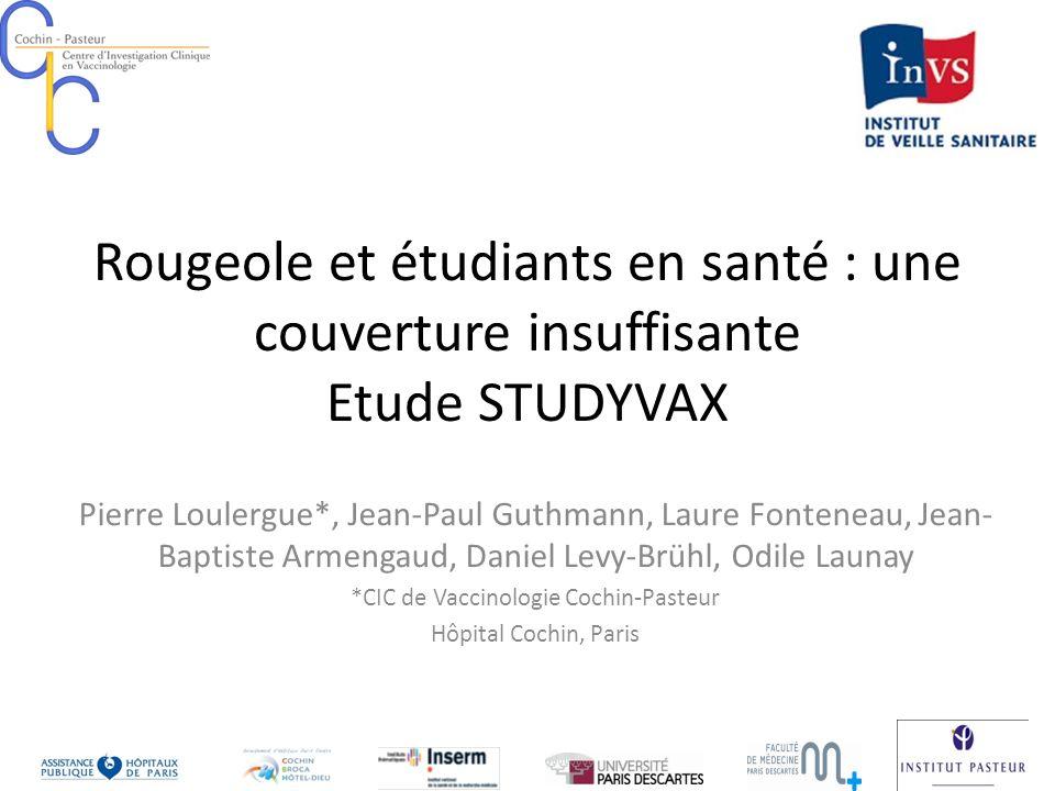 Rougeole et étudiants en santé : une couverture insuffisante Etude STUDYVAX Pierre Loulergue*, Jean-Paul Guthmann, Laure Fonteneau, Jean- Baptiste Arm