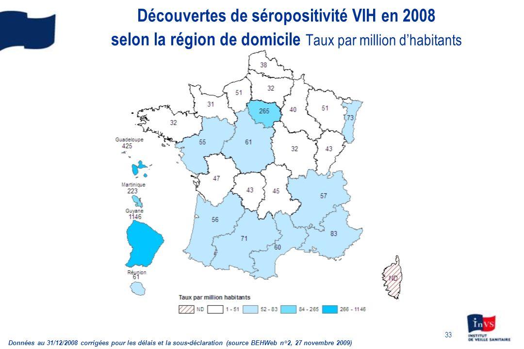 33 Découvertes de séropositivité VIH en 2008 selon la région de domicile Taux par million dhabitants Données au 31/12/2008 corrigées pour les délais e