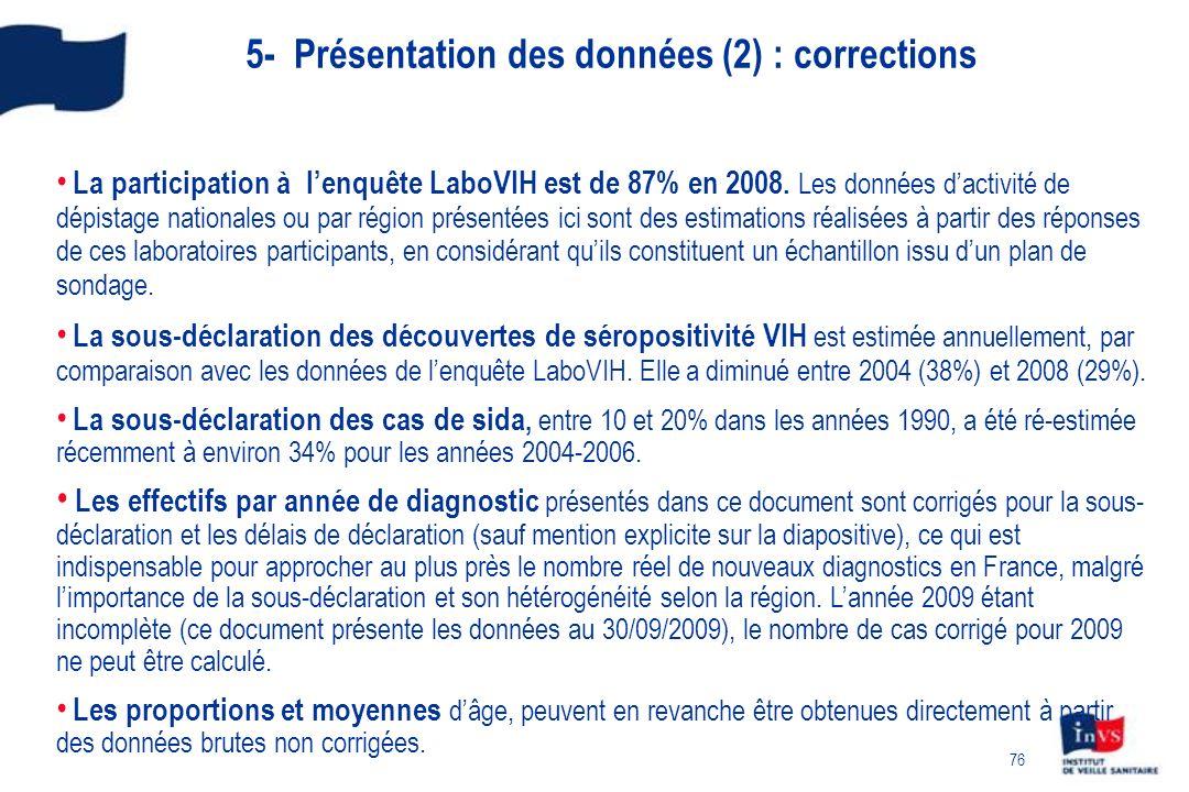 76 5- Présentation des données (2) : corrections La participation à lenquête LaboVIH est de 87% en 2008. Les données dactivité de dépistage nationales