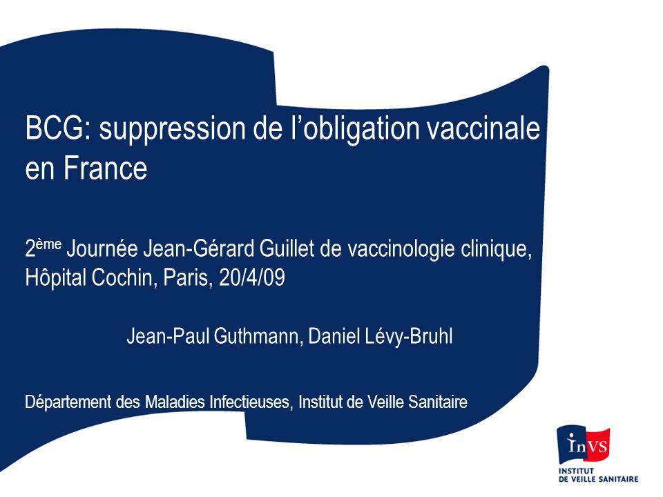 Contexte Décret (17 juillet 2007) entérine la suspension de lobligation vaccinale Circulaire (14 août 2007) précise les conditions de son application Saisine à lInVS (19 juillet 2007) demandant de suivre limpact de cette mesure