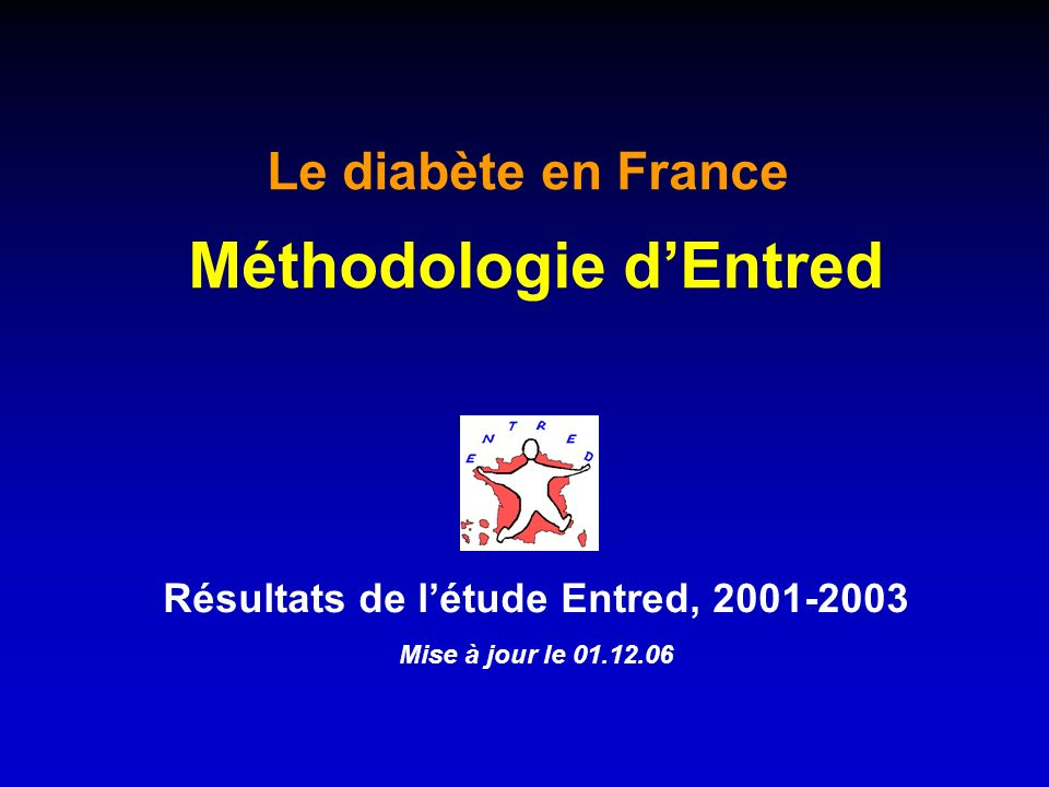 Résultats de létude Entred, 2001-2003 Mise à jour le 01.12.06 Le diabète en France Méthodologie dEntred