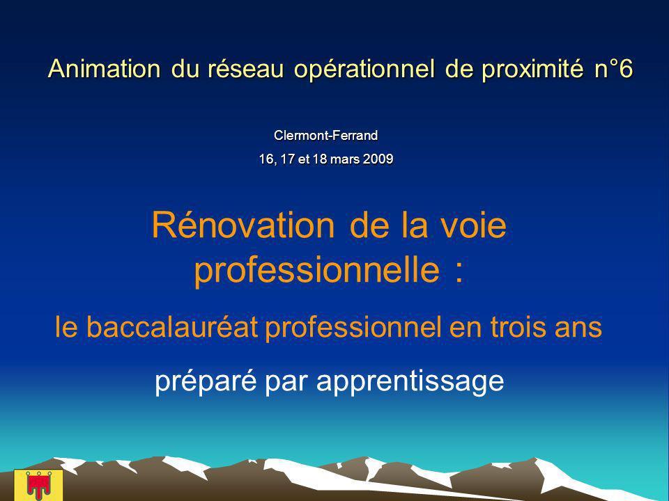 Animation du réseau opérationnel de proximité n°6 Clermont-Ferrand 16, 17 et 18 mars 2009 Rénovation de la voie professionnelle : le baccalauréat professionnel en trois ans préparé par apprentissage