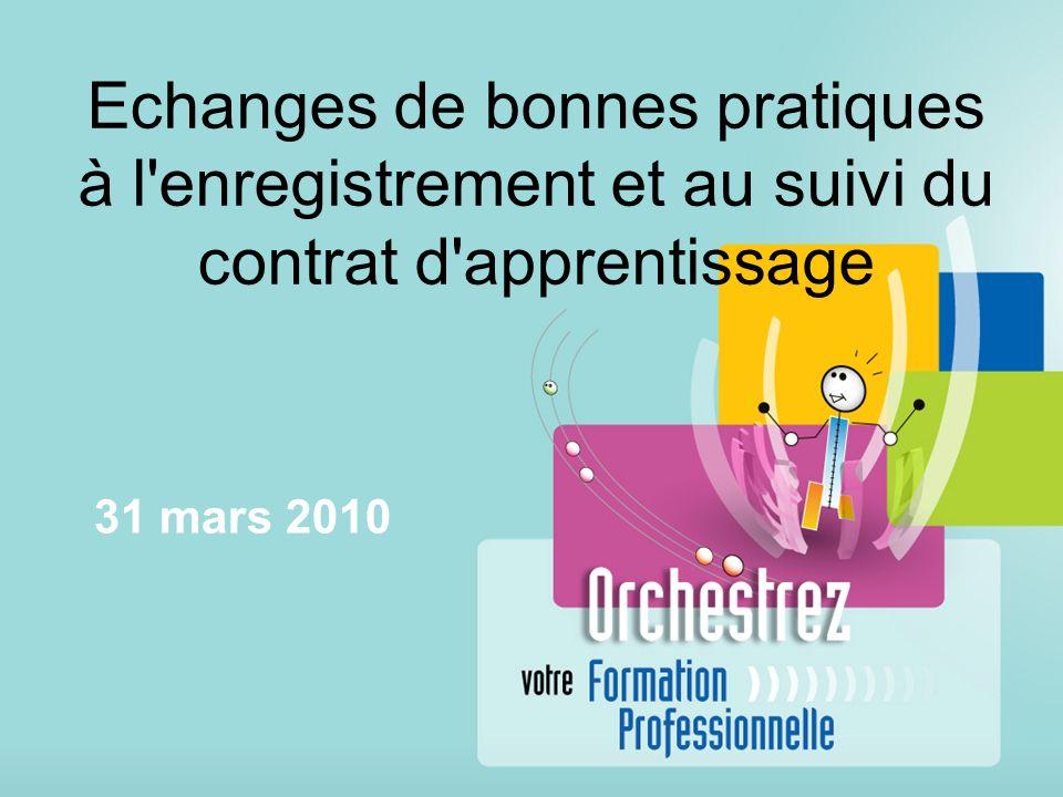 Echanges de bonnes pratiques à l enregistrement et au suivi du contrat d apprentissage 31 mars 2010