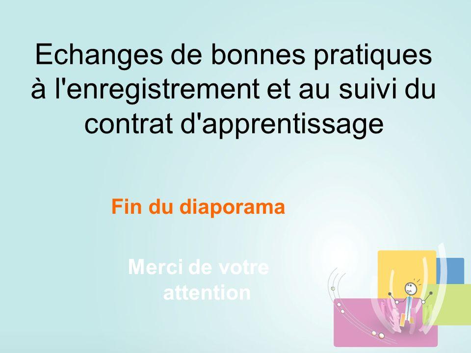 Echanges de bonnes pratiques à l enregistrement et au suivi du contrat d apprentissage Fin du diaporama Merci de votre attention