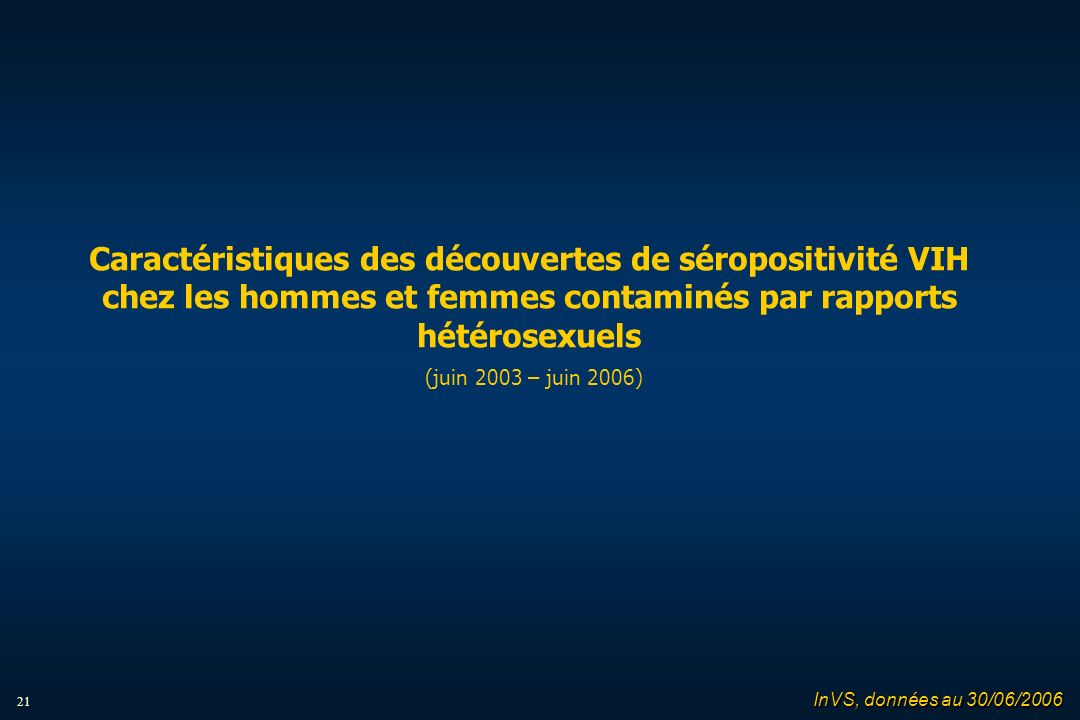 21 Caractéristiques des découvertes de séropositivité VIH chez les hommes et femmes contaminés par rapports hétérosexuels (juin 2003 – juin 2006) InVS, données au 30/06/2006