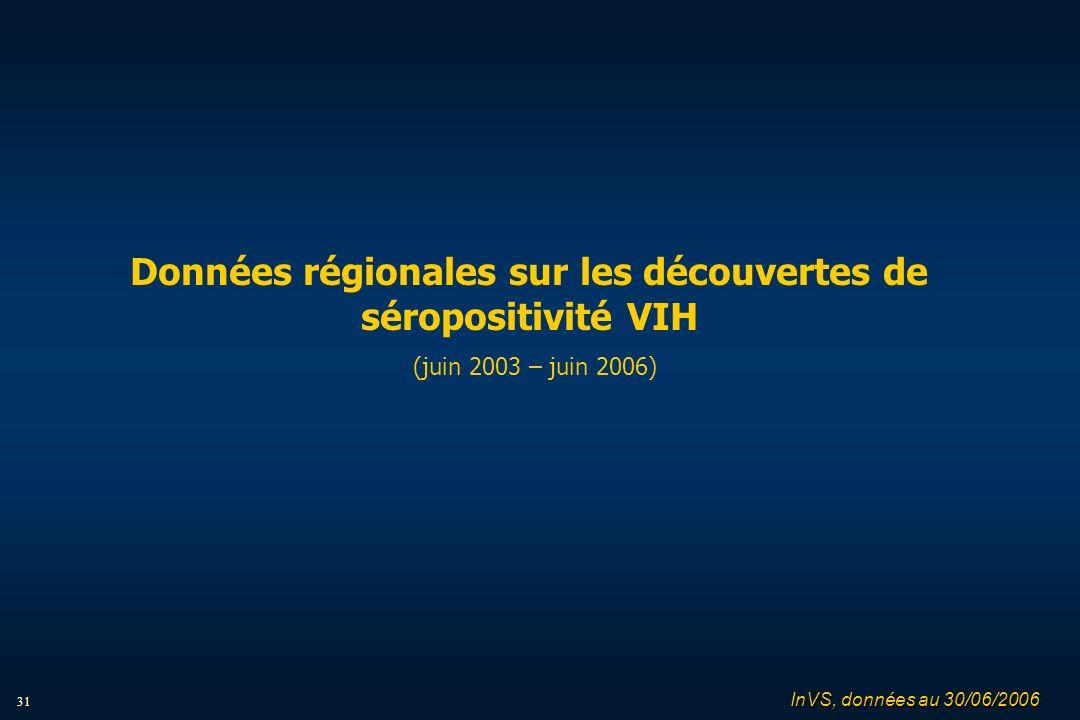 31 Données régionales sur les découvertes de séropositivité VIH (juin 2003 – juin 2006) InVS, données au 30/06/2006