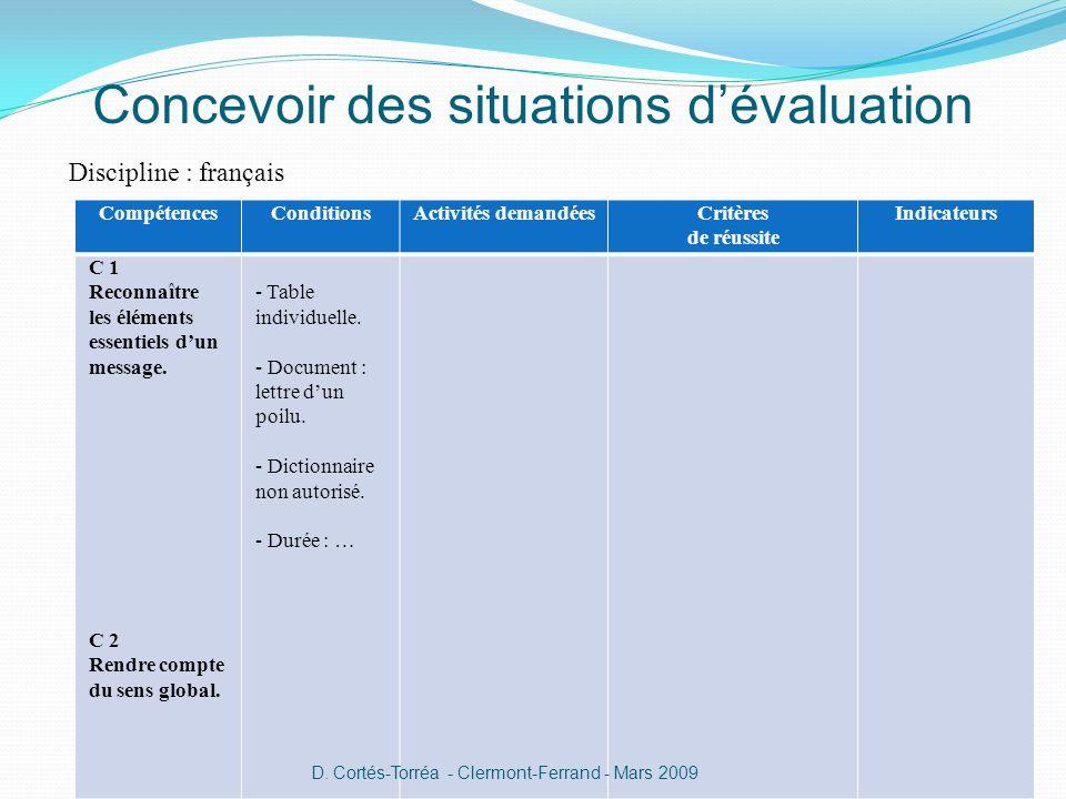 Concevoir des situations dévaluation Discipline : français CompétencesConditionsActivités demandéesCritères de réussite Indicateurs C 1 Reconnaître les éléments essentiels dun message.