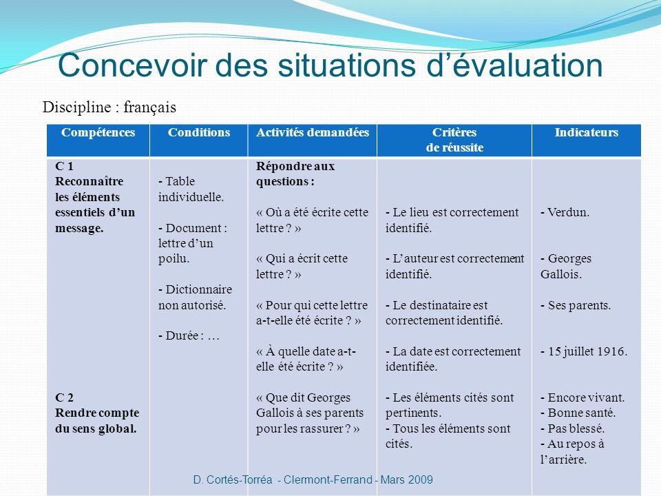 Concevoir des situations dévaluation Discipline : français CompétencesConditionsActivités demandéesCritères de réussite Indicateurs C 1 Reconnaître le