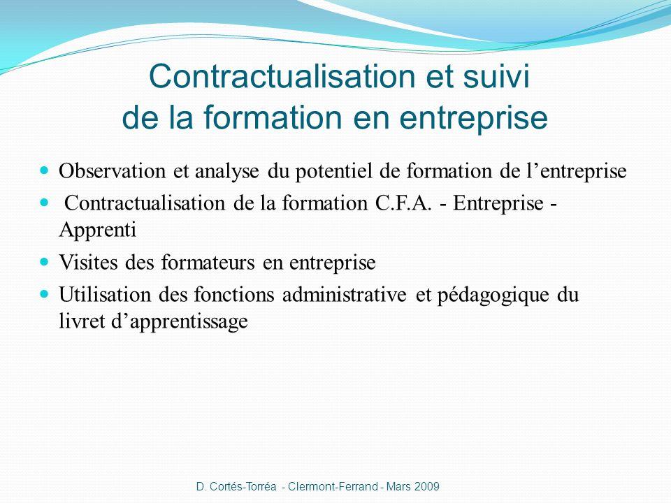 Observation et analyse du potentiel de formation de lentreprise Contractualisation de la formation C.F.A. - Entreprise - Apprenti Visites des formateu