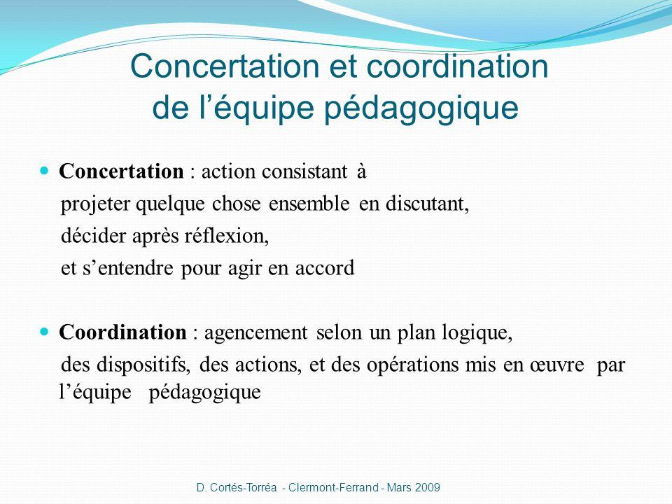 Concertation : action consistant à projeter quelque chose ensemble en discutant, décider après réflexion, et sentendre pour agir en accord Coordinatio