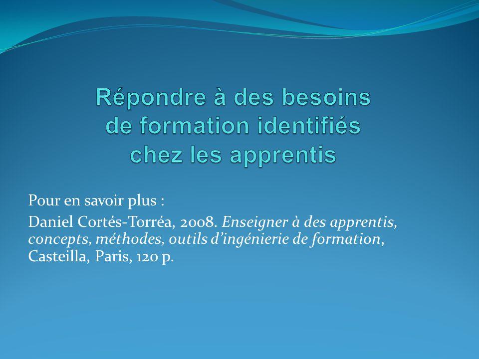 Pour en savoir plus : Daniel Cortés-Torréa, 2008. Enseigner à des apprentis, concepts, méthodes, outils dingénierie de formation, Casteilla, Paris, 12