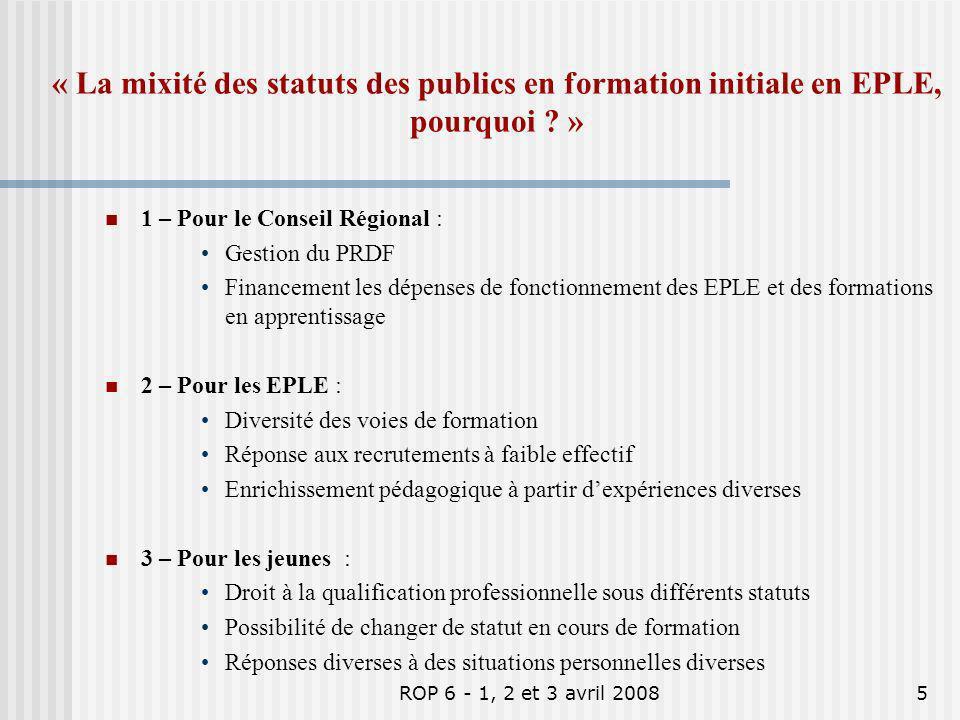 ROP 6 - 1, 2 et 3 avril 20085 1 – Pour le Conseil Régional : Gestion du PRDF Financement les dépenses de fonctionnement des EPLE et des formations en