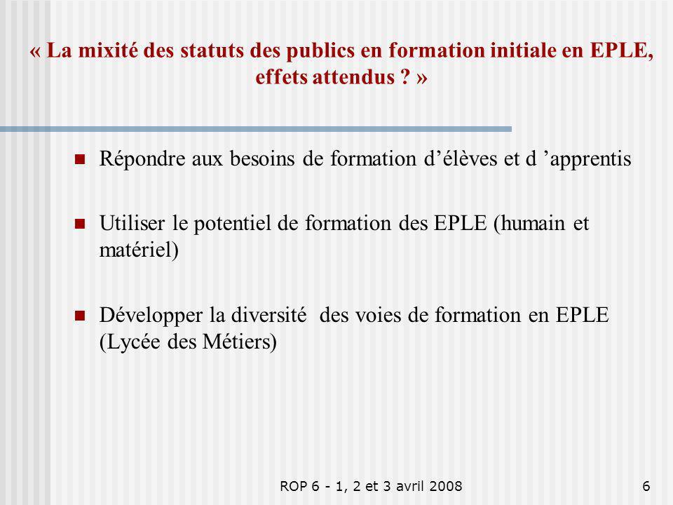ROP 6 - 1, 2 et 3 avril 20086 « La mixité des statuts des publics en formation initiale en EPLE, effets attendus ? » Répondre aux besoins de formation