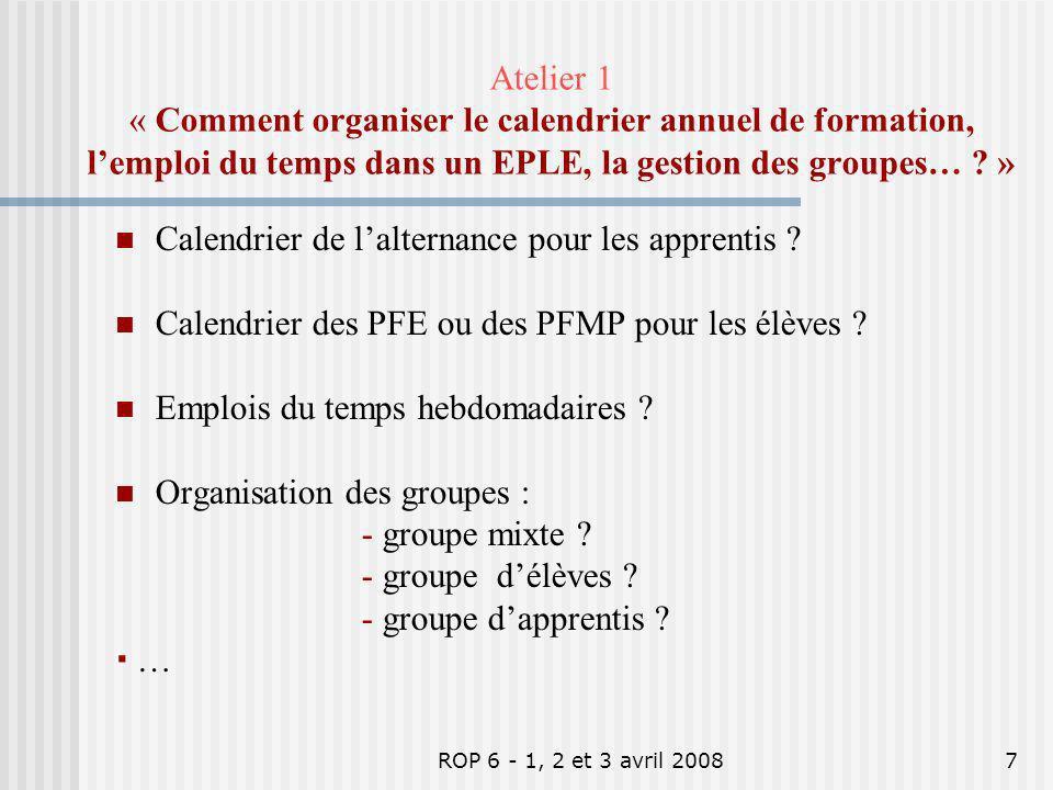 ROP 6 - 1, 2 et 3 avril 20087 Atelier 1 « Comment organiser le calendrier annuel de formation, lemploi du temps dans un EPLE, la gestion des groupes…
