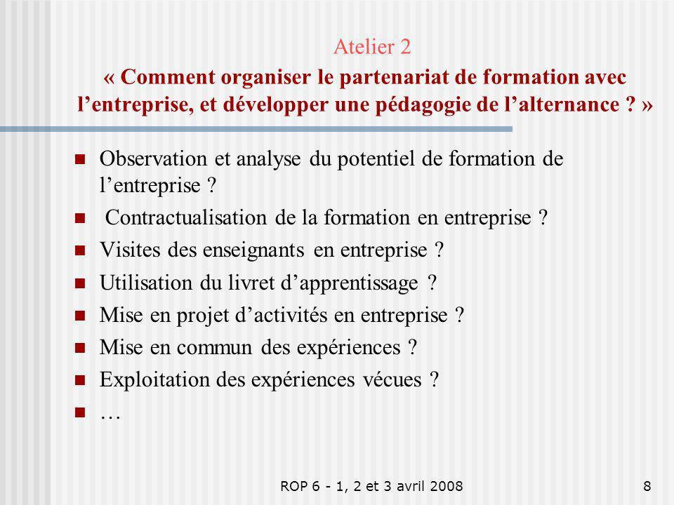 ROP 6 - 1, 2 et 3 avril 20088 Observation et analyse du potentiel de formation de lentreprise ? Contractualisation de la formation en entreprise ? Vis