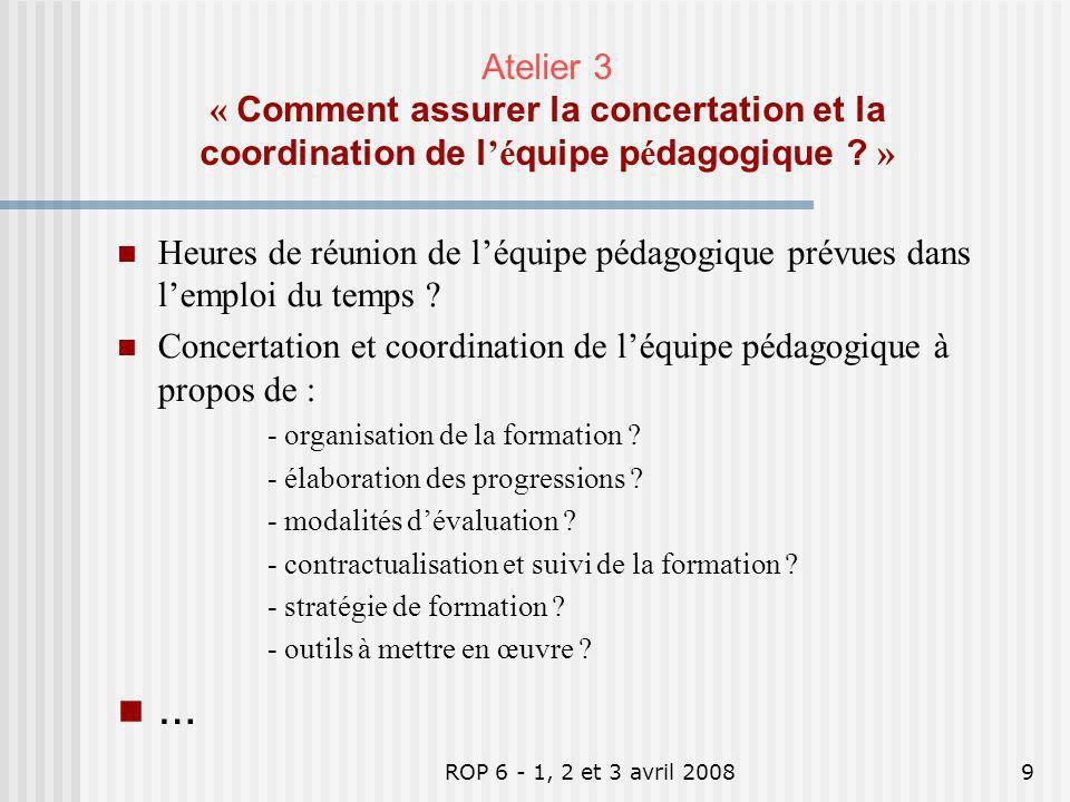 ROP 6 - 1, 2 et 3 avril 20089 Heures de réunion de léquipe pédagogique prévues dans lemploi du temps ? Concertation et coordination de léquipe pédagog