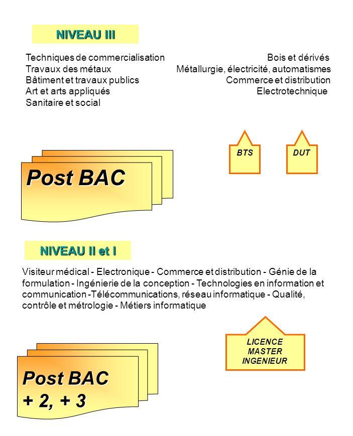 Post BAC BTS Techniques de commercialisation Bois et dérivés Travaux des métaux Métallurgie, électricité, automatismes Bâtiment et travaux publics Com