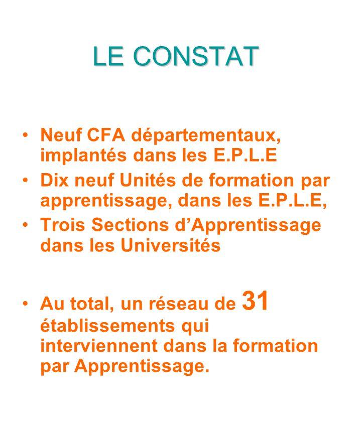 LE CONSTAT Neuf CFA départementaux, implantés dans les E.P.L.E Dix neuf Unités de formation par apprentissage, dans les E.P.L.E, Trois Sections dApprentissage dans les Universités Au total, un réseau de 31 établissements qui interviennent dans la formation par Apprentissage.