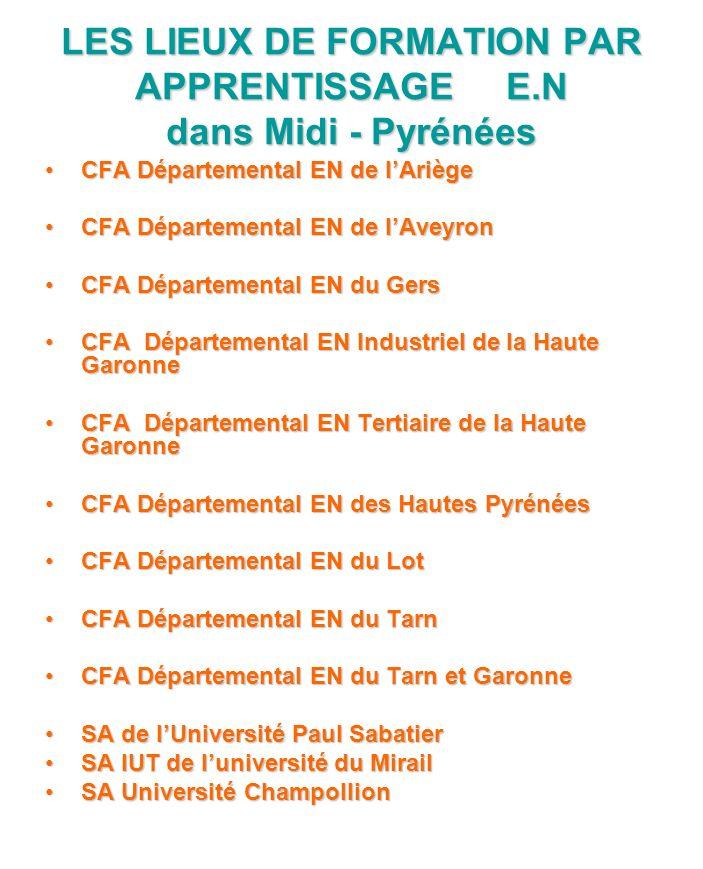 LES LIEUX DE FORMATION PAR APPRENTISSAGE E.N dans Midi - Pyrénées CFA Départemental EN de lAriège CFA Départemental EN de lAveyron CFA Départemental E