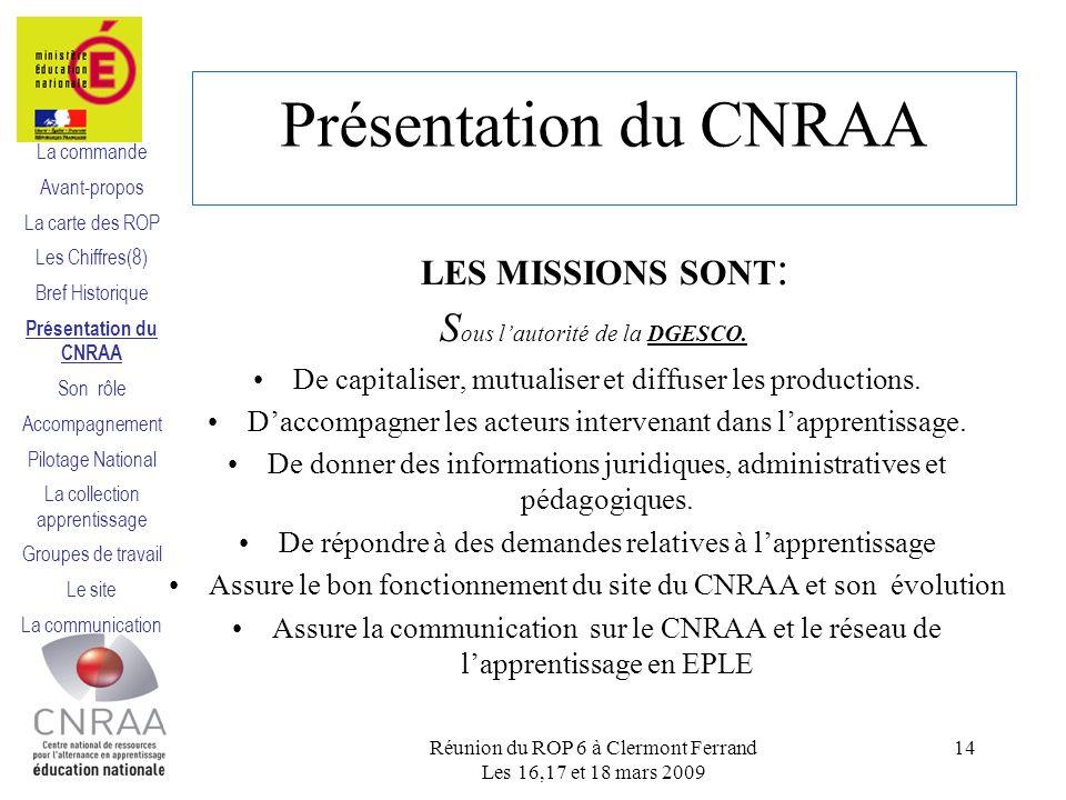 Présentation du CNRAA LES MISSIONS SONT : S ous lautorité de la DGESCO.