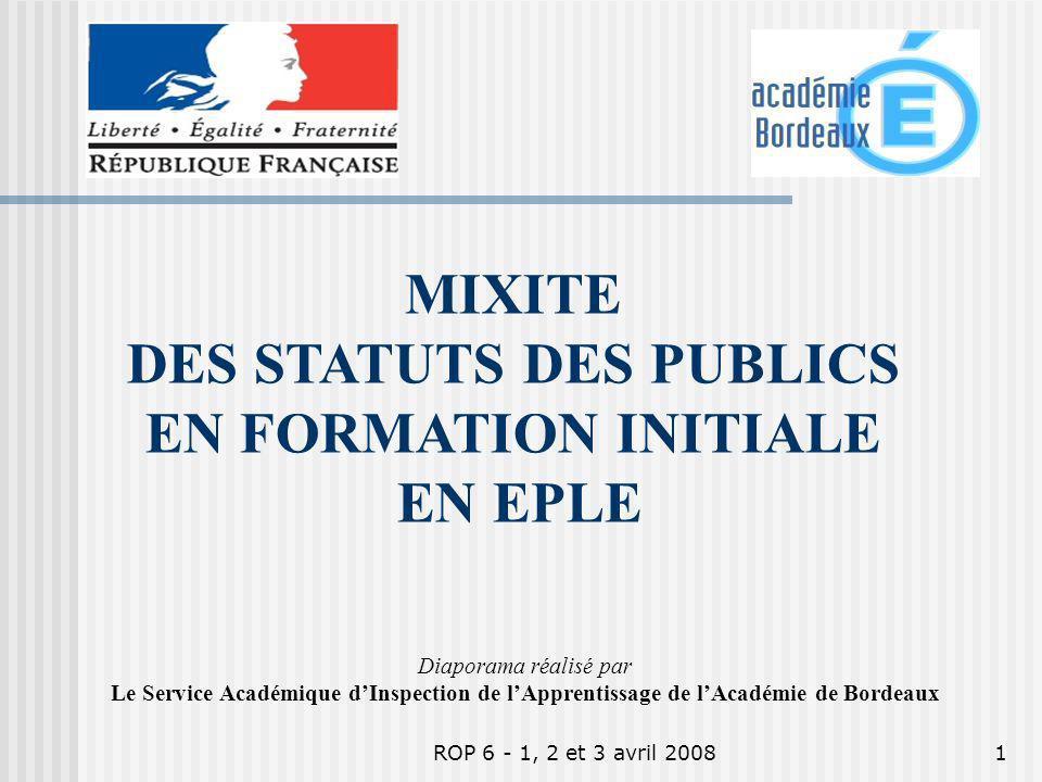 ROP 6 - 1, 2 et 3 avril 20081 Diaporama réalisé par Le Service Académique dInspection de lApprentissage de lAcadémie de Bordeaux MIXITE DES STATUTS DES PUBLICS EN FORMATION INITIALE EN EPLE