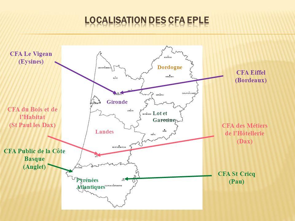 CFA Eiffel (Bordeaux) Gironde CFA Le Vigean (Eysines) CFA des Métiers de lHôtellerie (Dax) CFA du Bois et de lHabitat (St Paul les Dax) CFA Public de