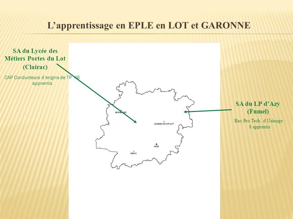 Lapprentissage en EPLE en LOT et GARONNE SA du LP dAzy (Fumel) Bac Pro Tech. d Usinage : 8 apprentis SA du Lycée des Métiers Portes du Lot (Clairac) C