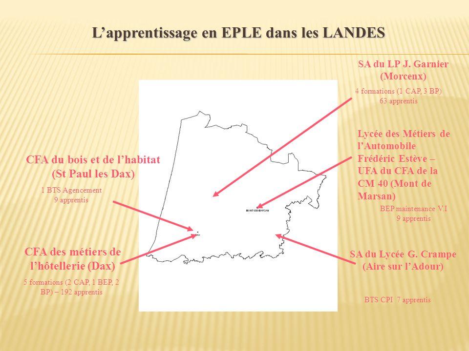 Lapprentissage en EPLE dans les LANDES CFA des métiers de lhôtellerie (Dax) CFA du bois et de lhabitat (St Paul les Dax) 5 formations (2 CAP, 1 BEP, 2
