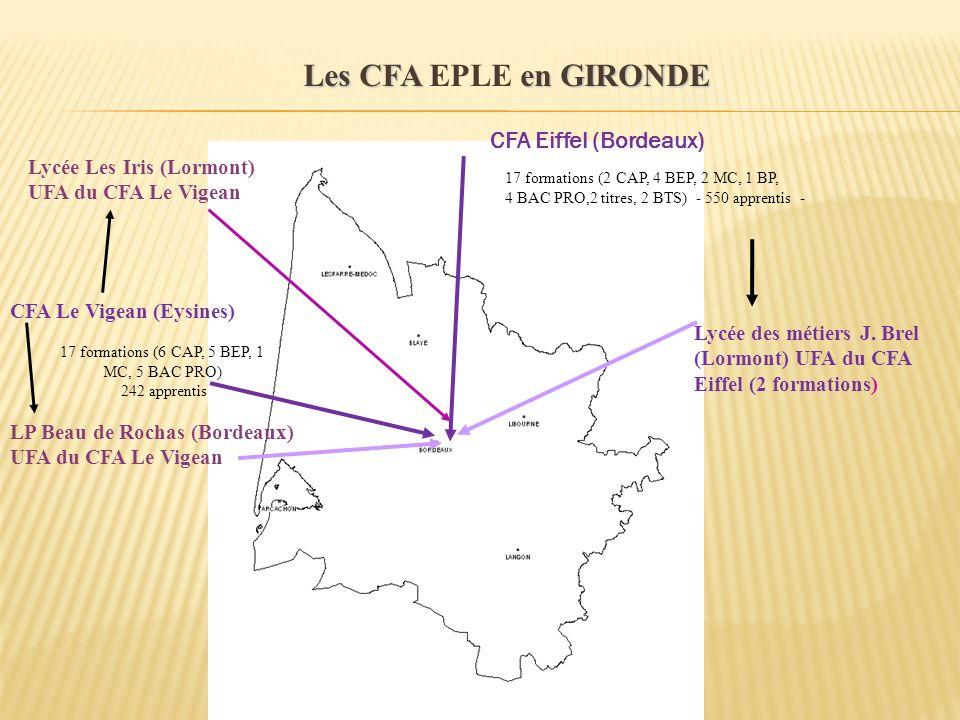 CFA Eiffel (Bordeaux) CFA Le Vigean (Eysines) 17 formations (2 CAP, 4 BEP, 2 MC, 1 BP, 4 BAC PRO,2 titres, 2 BTS) - 550 apprentis - Lycée des métiers