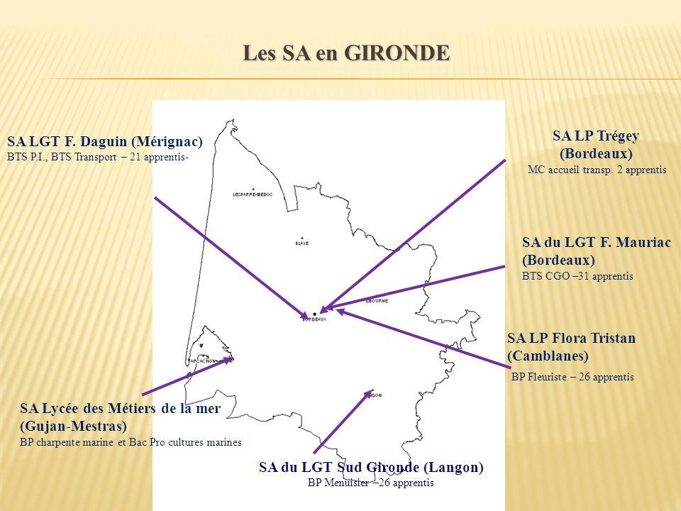 Les SA en GIRONDE SA du LGT Sud Gironde (Langon) BP Menuisier –26 apprentis SA Lycée des Métiers de la mer (Gujan-Mestras) BP charpente marine et Bac