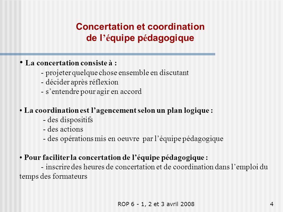 ROP 6 - 1, 2 et 3 avril 20085 Heures de réunion de léquipe pédagogique prévues dans lemploi du temps .