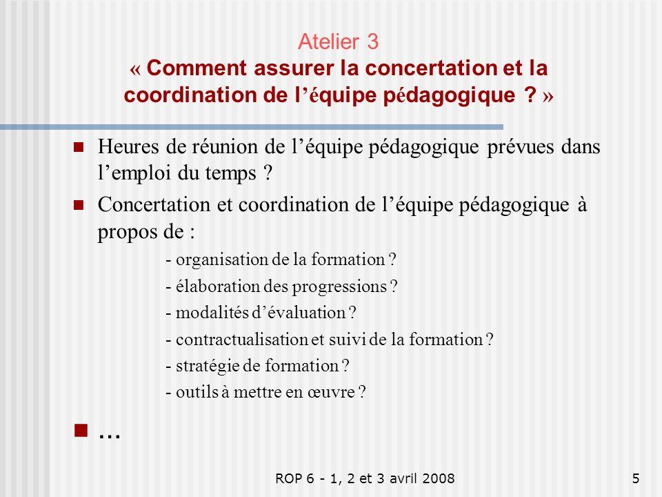 ROP 6 - 1, 2 et 3 avril 20085 Heures de réunion de léquipe pédagogique prévues dans lemploi du temps ? Concertation et coordination de léquipe pédagog