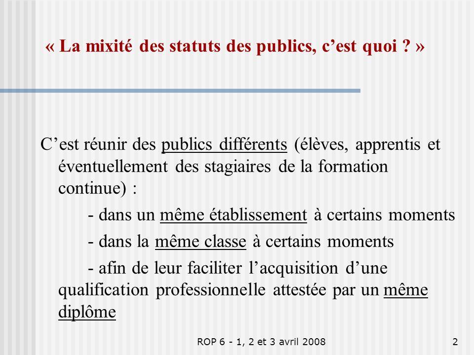 ROP 6 - 1, 2 et 3 avril 20081 Thème Mixité des statuts des publics en formation initiale en EPLE ROP 6 ATELIER 2