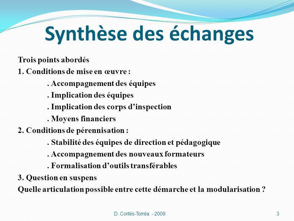 Synthèse des échanges Trois points abordés 1. Conditions de mise en œuvre :.