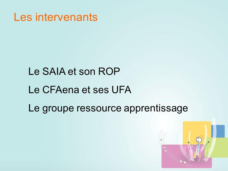 Les intervenants Le SAIA et son ROP Le CFAena et ses UFA Le groupe ressource apprentissage