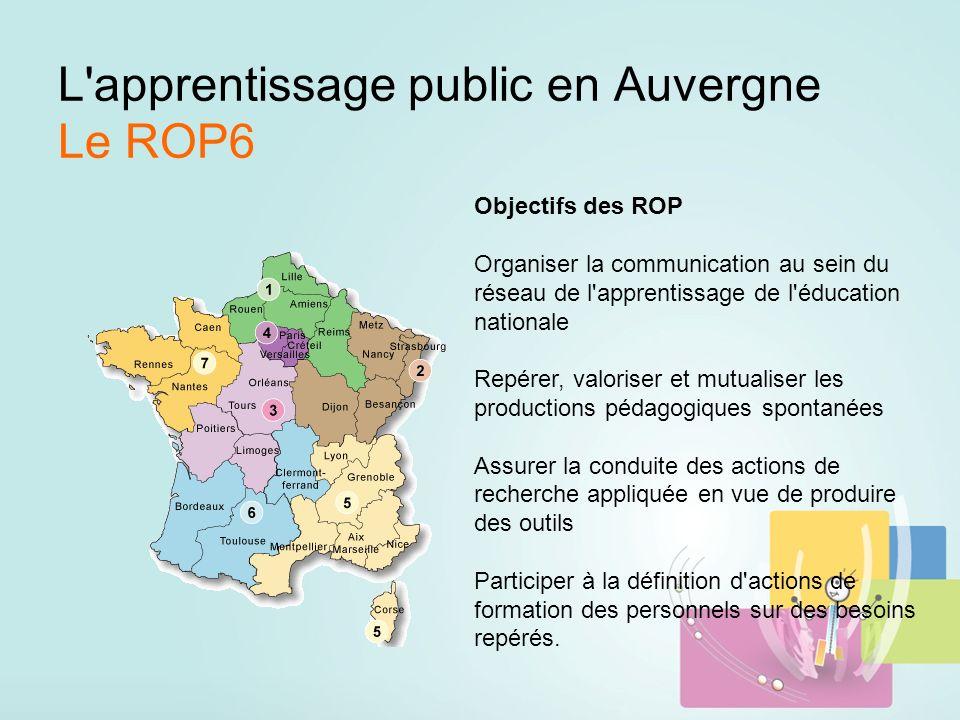 L apprentissage public en Auvergne Le ROP6 Objectifs des ROP Organiser la communication au sein du réseau de l apprentissage de l éducation nationale Repérer, valoriser et mutualiser les productions pédagogiques spontanées Assurer la conduite des actions de recherche appliquée en vue de produire des outils Participer à la définition d actions de formation des personnels sur des besoins repérés.