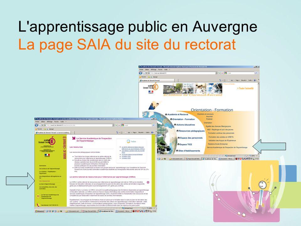 L apprentissage public en Auvergne La page SAIA du site du rectorat