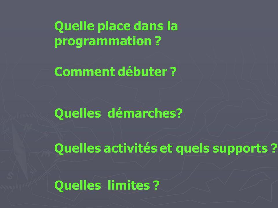 Quelle place dans la programmation ? Comment débuter ? Quelles démarches? Quelles activités et quels supports ? Quelles limites ?