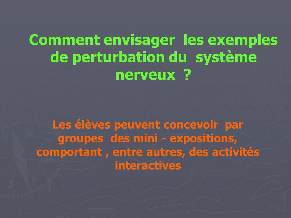 Comment envisager les exemples de perturbation du système nerveux ? Les élèves peuvent concevoir par groupes des mini - expositions, comportant, entre