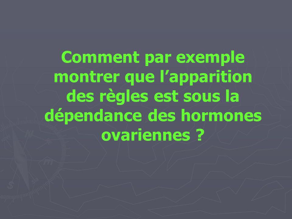 Comment par exemple montrer que lapparition des règles est sous la dépendance des hormones ovariennes ?