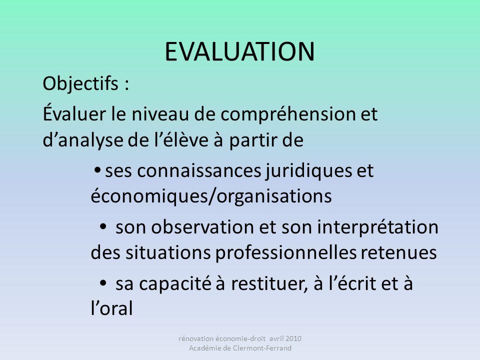 EVALUATION Objectifs : Évaluer le niveau de compréhension et danalyse de lélève à partir de ses connaissances juridiques et économiques/organisations
